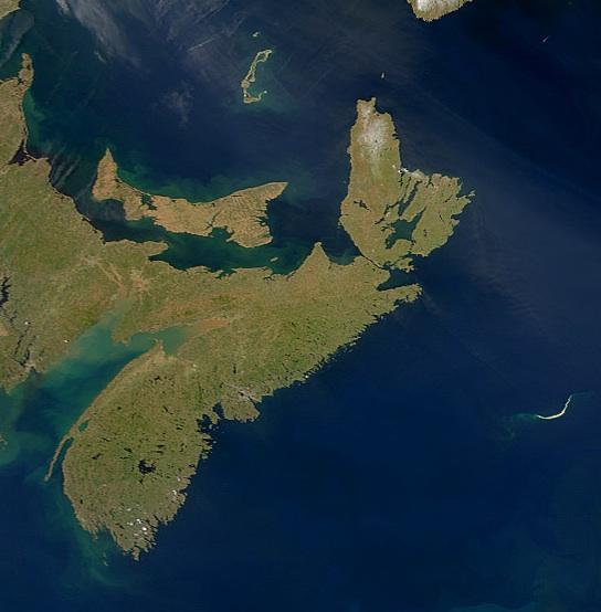 Nova Scotia, the Scotian Shelf to the east. Credit: NASA.