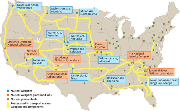 Nuclear Weapons On A Highway Near You Mother Jones - Map of all nuclear power plants in the us