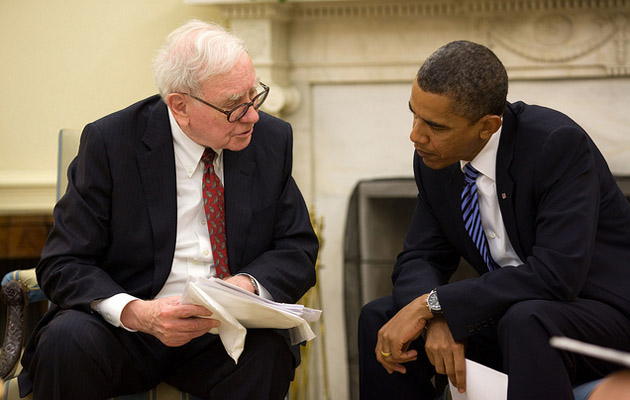 Warren Buffett and President Obama.: Flickr/White House
