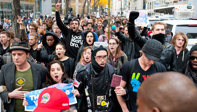 Protestors marched up Broadway towards a morning gathering near Canal and 6th Ave.: Photo: Jacob Blickenstaff