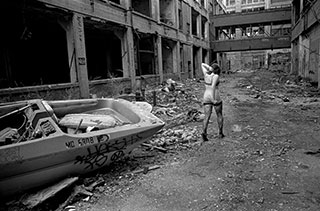 "The Packard plant, where we came across this ""fashion shoot,"" has been smoldering for decades."
