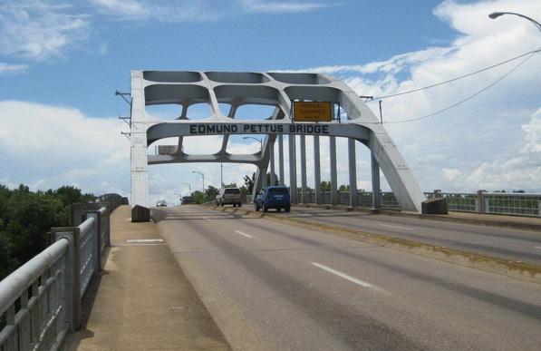 Getting there: The bridge in Selma (Photo: Tim Murphy