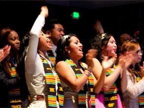 Ana Avalos (center) and College Track graduates