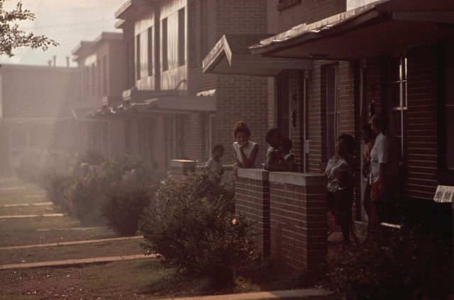 Day becomes night in North Birmingham, adjacent to U.S. pipe plant and the most heavily polluted part of the city, in July 1972: LeRoy Woodson/NARA