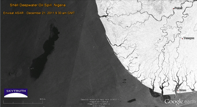 Shell's 100-mile-long oil slick off the Nigerian coast, 21 December 2011.: Envisat ASAR image analyzed by SkyTruth, data courtesy European Space Agency.