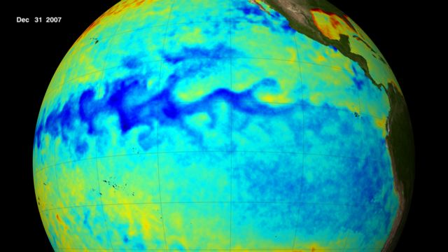 Blue area at center of Pacific Ocean shows cool sea surface temperatures along the equator during the 2007 La Niña. Credit: NASA/Goddard's Scientific Visualization Studio.
