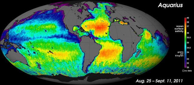 The first global map of the salinity of Earth's ocean surface produced by NASA's new Aquarius instrument reveals a rich tapestry of global salinity patterns. : Credit: NASA/GSFC/JPL-Caltech.