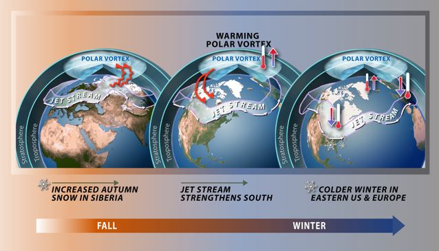 Increased autumn snow in Siberia predicts a weakening Arctic vortex in winter. : Credit: Nicolle Rager Fuller, National Science Foundation.