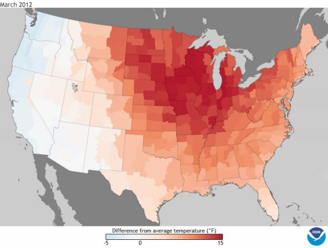 March 2012 temperatures: departure from average: NOAA National Climatic Data Center
