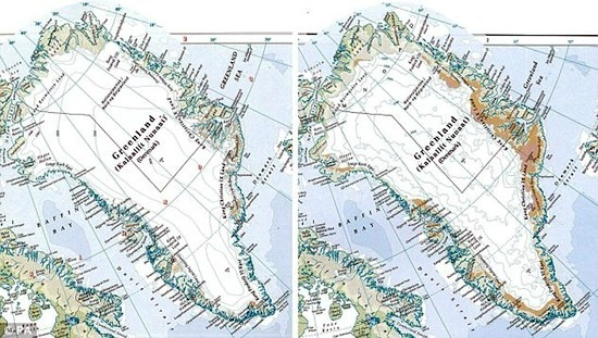 The discredited Times Atlas map of Greenland showing 1999 (left) and 2011 (right) ice cover. Credit: The Times Comprehensive Atlas of the World