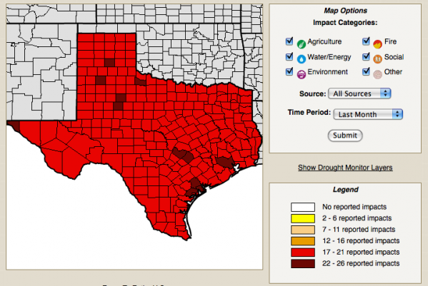 Texas drought impacts by county, for the past month. Credit: National Drought Mitigation Center.