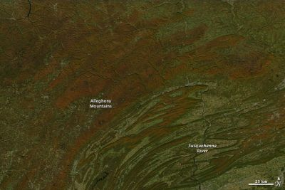 Mountains and highlands of northern Pennsylvania, 13 October 2010. Credit: NASA images courtesy Jeff Schmaltz, MODIS Rapid Response Team at NASA GSFC.
