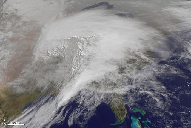 Historic winter storm of 1-2 February 2011 moving across eastern US. Credit: NASA Earth Observatory.
